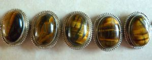 Sterling Silver And Tigers Eye Bracelet.